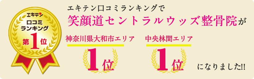 エキテン口コミランキングで笑顔道セントラルウッズ整骨院が神奈川県大和市エリア1位、中央林間エリア1位になりました!