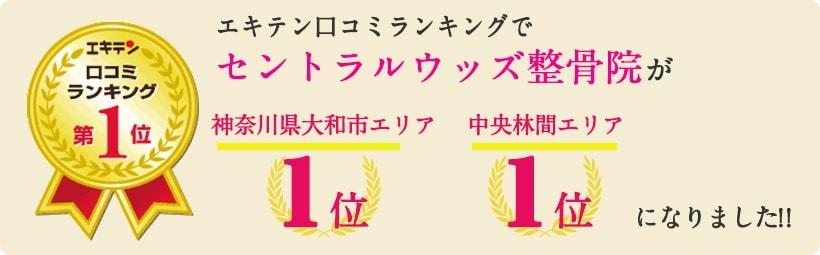 エキテン口コミランキングでセントラルウッズ整骨院が神奈川県大和市エリア1位、中央林間エリア1位になりました!
