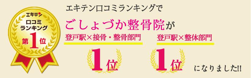 エキテン口コミランキングでごしょづか整骨院が神奈川県川崎市エリア1位、宿河原エリア1位になりました!
