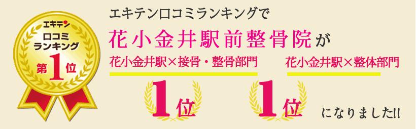 エキテン口コミランキングで花小金井駅前整骨院が東京都小平市エリア1位、小平市エリア1位になりました!