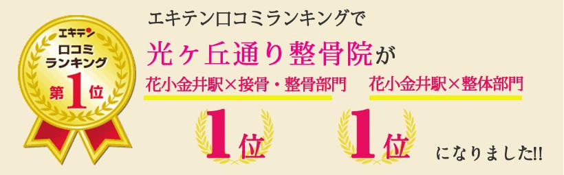 エキテン口コミランキングで光ヶ丘通り整骨院が東京都小平市エリア1位、花小金井エリア1位になりました!