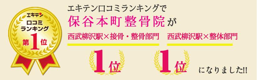 エキテン口コミランキングで笑顔道保谷本町整骨院が東京都西東京市エリア1位、保谷町エリア1位になりました!