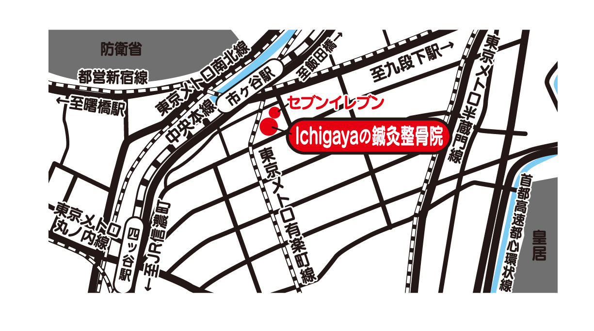Ichigayaの鍼灸整骨院 地図