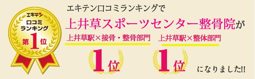 エキテン口コミランキングで上井草スポーツセンター整骨院が東京都杉並区エリア1位、仙川エリア1位になりました!