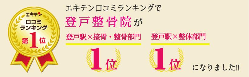 エキテン口コミランキングで笑顔道登戸整骨院が神奈川県川崎市多摩区エリア1位、登戸エリア1位になりました!