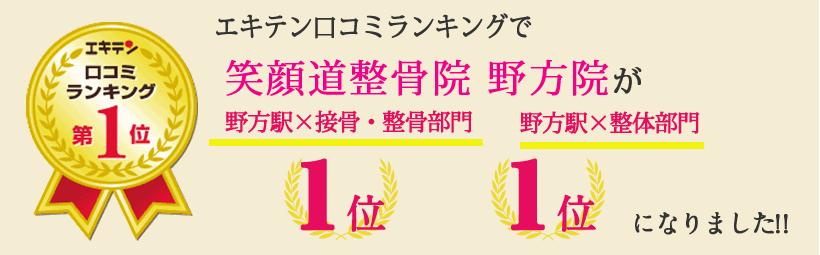 エキテン口コミランキングで笑顔道整骨院 野方院が東京都中野区エリア1位、野方エリア1位になりました!