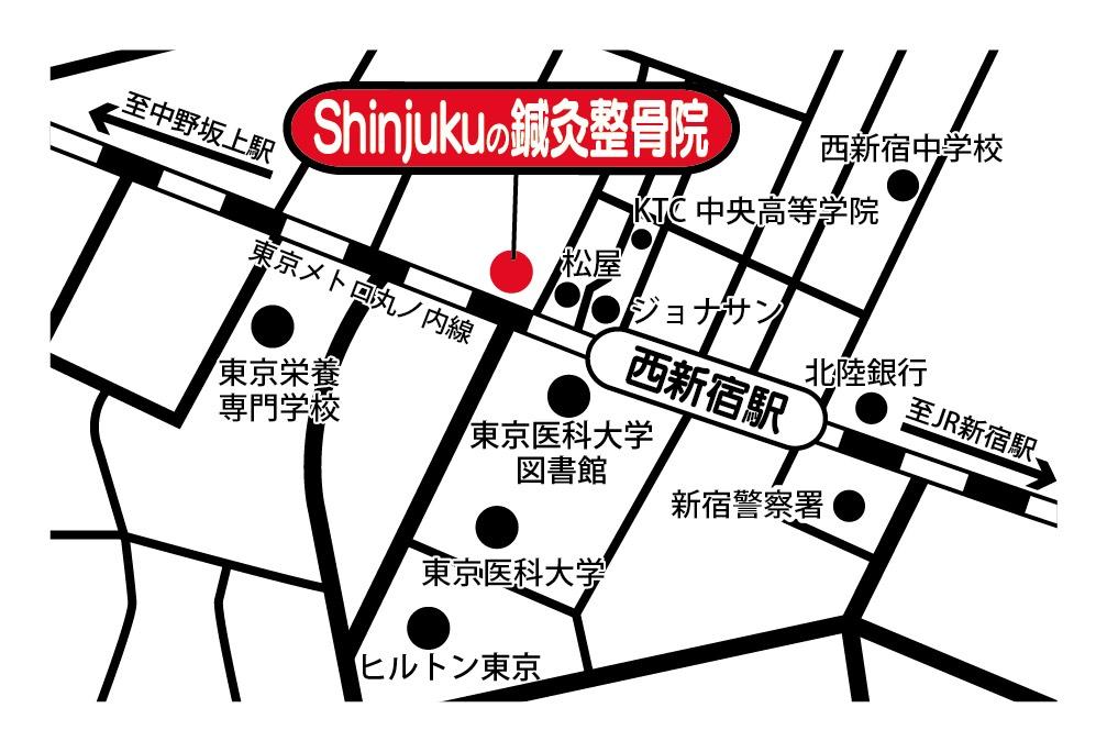 笑顔道 Shinjukuの鍼灸整骨院 地図