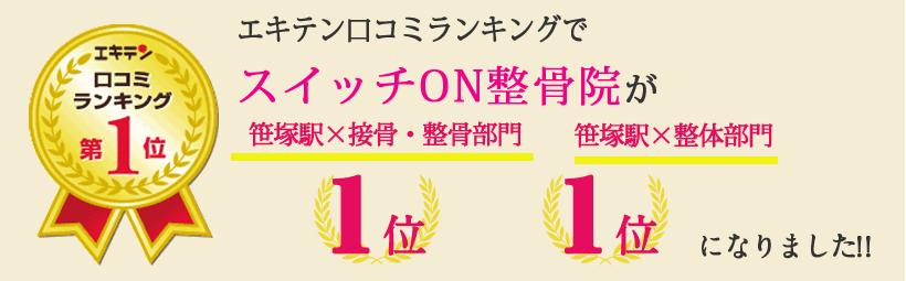 エキテン口コミランキングでスイッチON整骨院が東京都渋谷区エリア1位、笹塚エリア1位になりました!