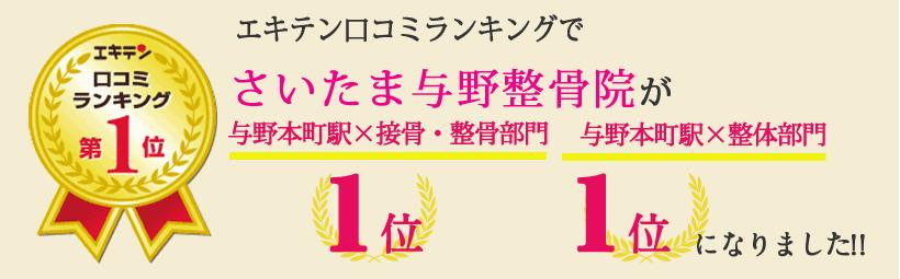 エキテン口コミランキングでさいたま与野整骨院が埼玉県さいたま市エリア1位、与野エリア1位になりました!